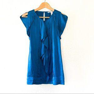 Diane Von Furstenberg Blue Silk Ruffle Blouse